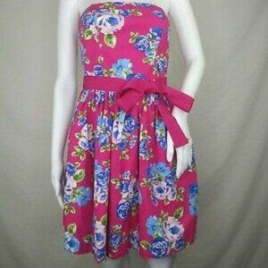 FOREVER 21 PINK FLORAL STRAPLESS PARTY DRESS